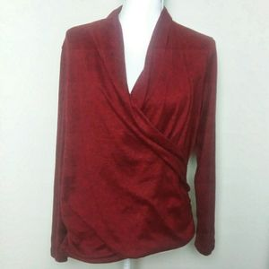 Pleione Rust Red Faux Wrap Long Sleeve Blouse